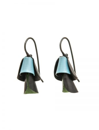 Small Pea Flower Earrings - Blue Green