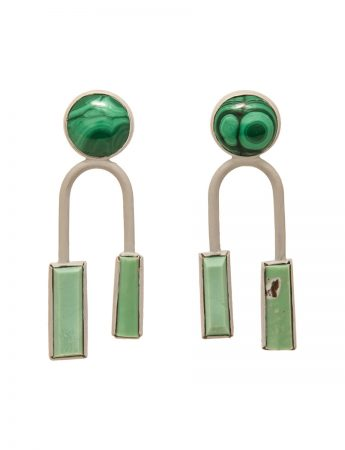 Three Stone Arch Stud Earrings