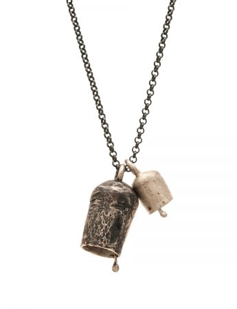 Two Large Bells Necklace - Silver & Oxidised