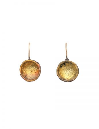 Single Dome Shibuichi Hook Earrings - Yellow