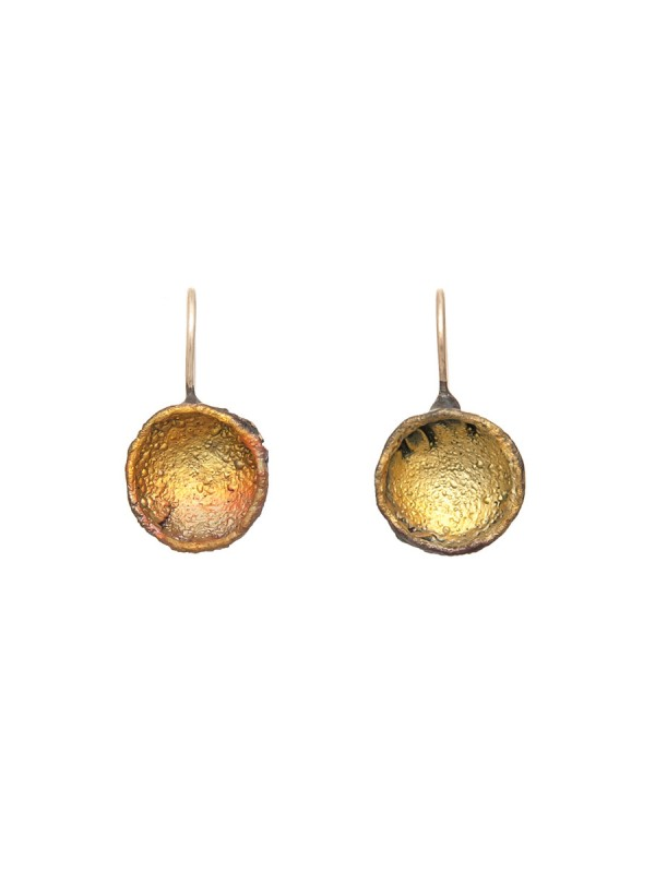 Single Dome Shibuichi Hook Earrings – Yellow