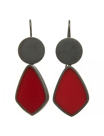 Resin Hook Earrings - Cherry Red