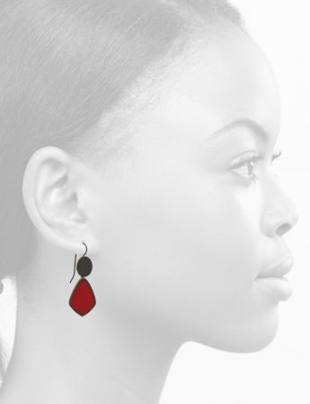 Resin Hook Earrings – Cherry Red