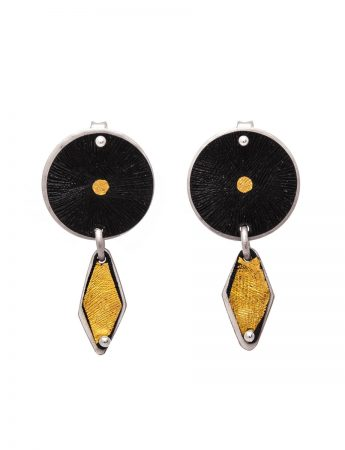 Circle & Rhombus Gold Inlay Earrings