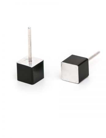 Cubist Stud Earrings – Black Side