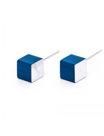 Cubist Stud Earrings – Blue Front