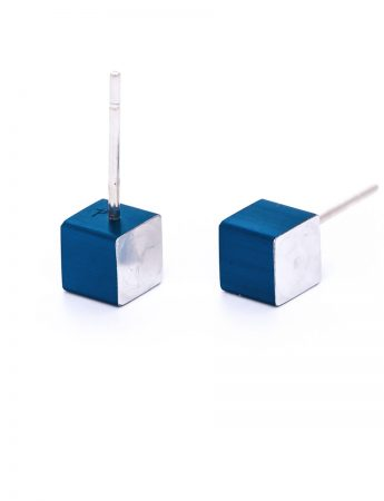 Cubist Stud Earrings - Blue Front
