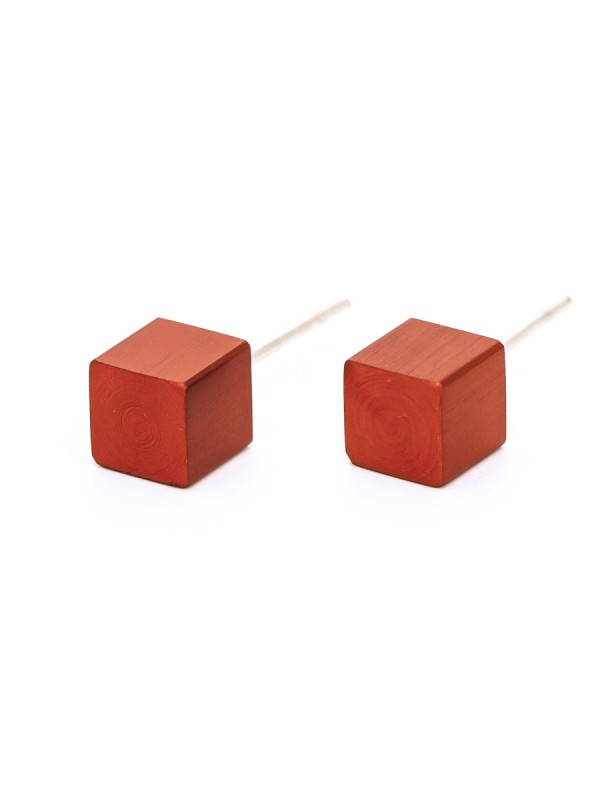 Cubist Stud Earrings – Red
