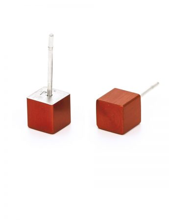 Cubist Stud Earrings - Red