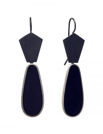 Dark Night Resin Hook Earrings - Blue/Black Teardrops