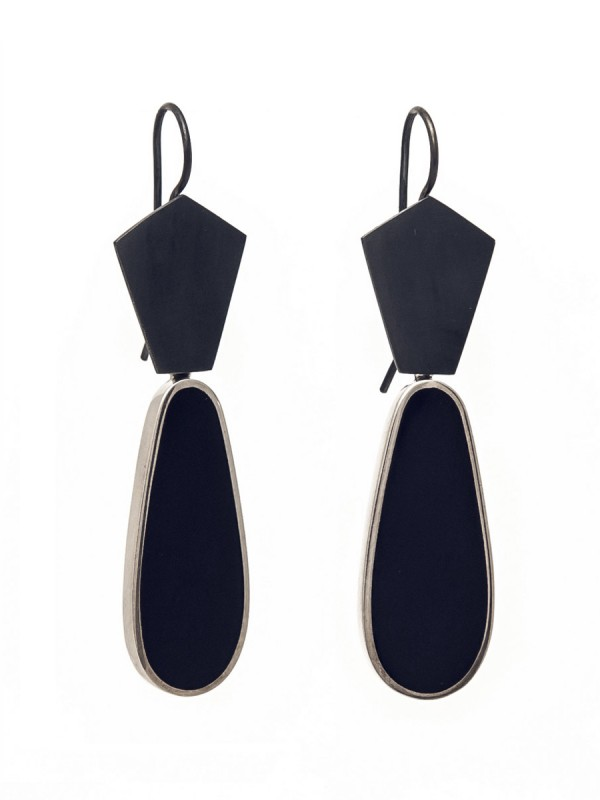 Dark Night Resin Hook Earrings – Blue/Black Teardrops