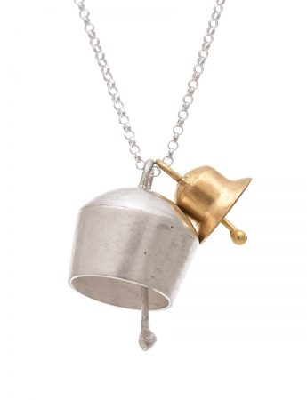 Two Bells Pendant - Silver & Yellow Gold