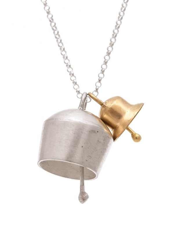 Two Bells Pendant – Silver & Yellow Gold