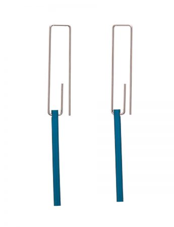 Hidden Line Earrings - Blue