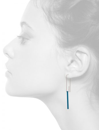 Hidden Line Earrings – Blue