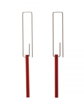 Hidden Line Earrings – Red