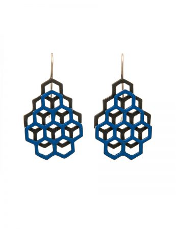 Honeycomb Earrings – Black & Blue