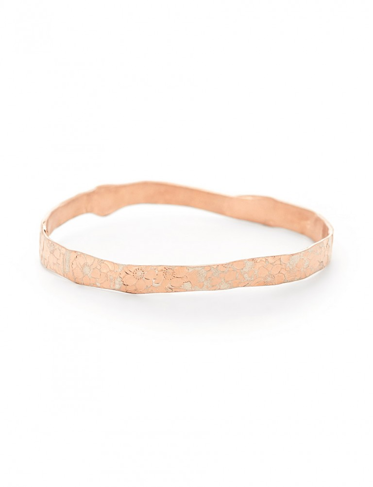 Large Flower Bangle – Rose Gold Plate