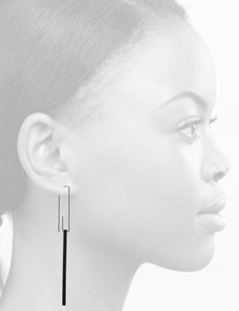 Long Hidden Line Earrings – Black