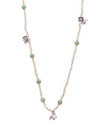Long Necklace - Amazonite & Pearl