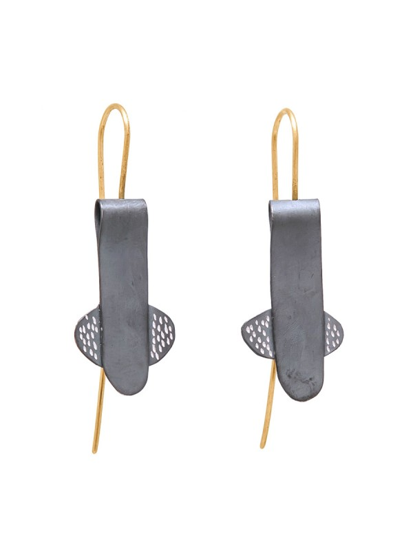 Oxidised Silver Long Earrings