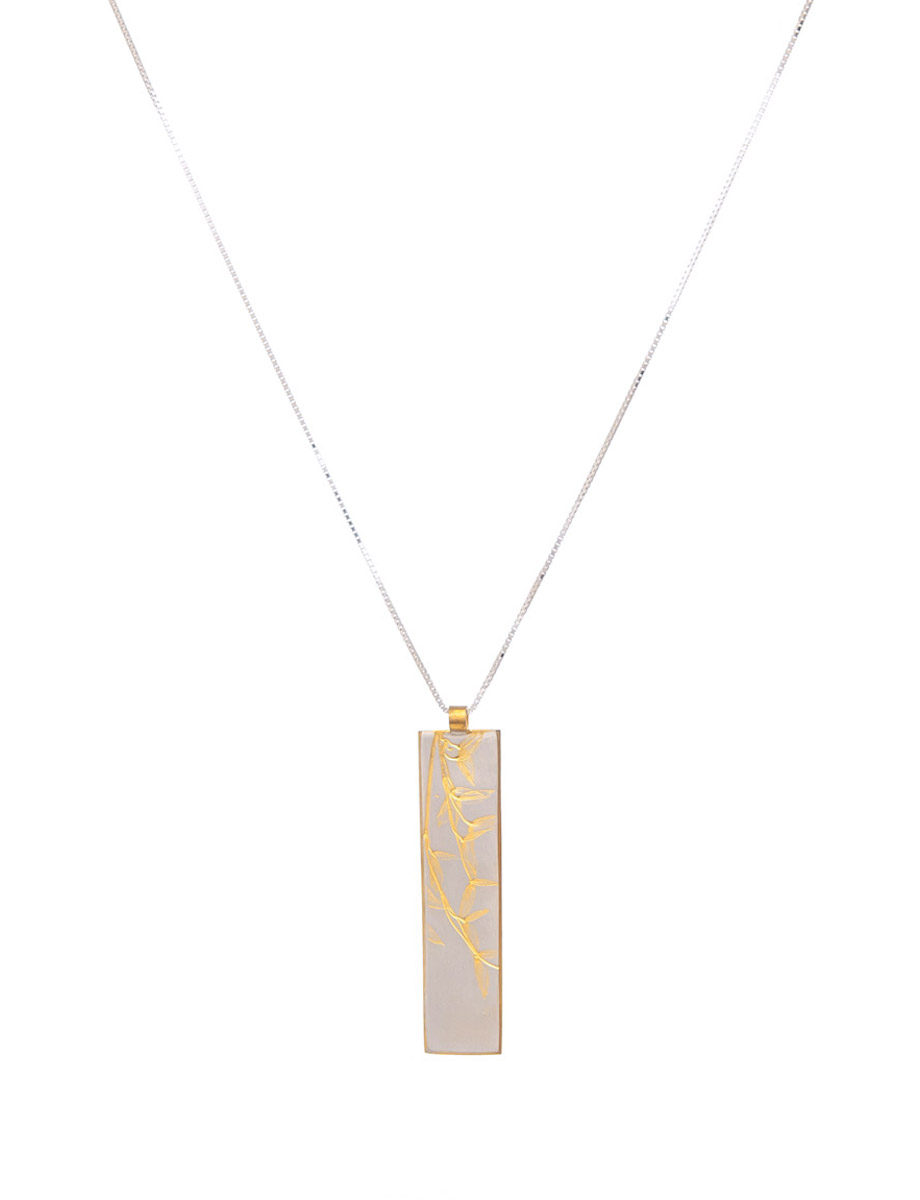 Silver gold plate plant leaf pendant egal melbourne plant pendant leaf gold plate aloadofball Image collections