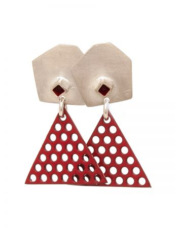 Red Triangle Earrings - Red Dot