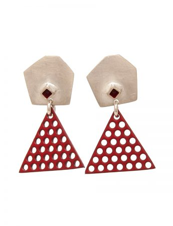 Red Triangle Earrings – Red Dot