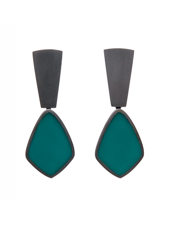 Resin Earrings – Teal