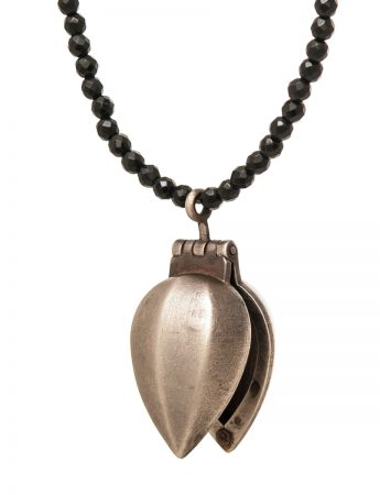 Silver Amulet Locket Necklace - Onyx Beads