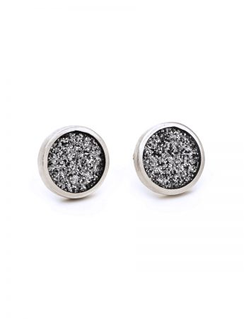 Small Grey Glitter Spot Stud Earrings - Silver Edge