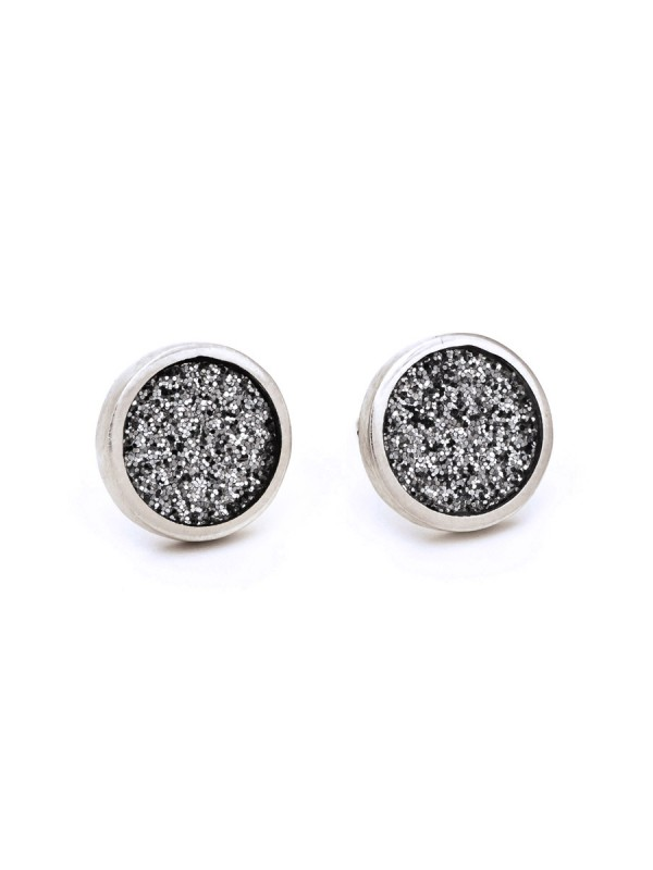 Small Grey Glitter Spot Stud Earrings – Silver Edge