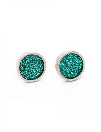 Aqua Glitter Spot Stud Earrings – Small
