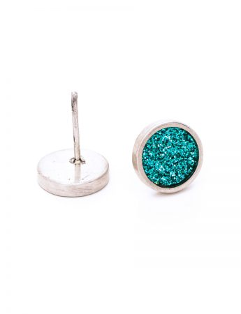 Aqua Glitter Spot Stud Earrings - Small
