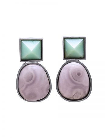 Stone Earrings - Chrysoprase & Agate