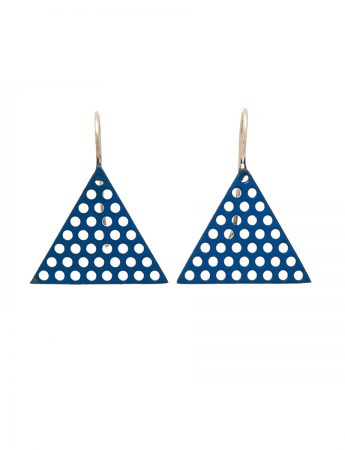 Triangle Perforated Earrings - Blue
