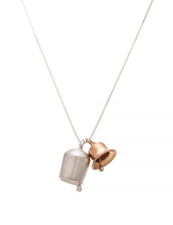Two Bells Necklace - Silver & Rose Gold