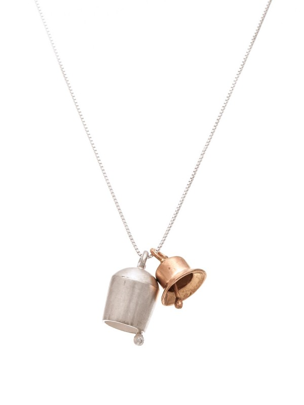 Two Bells Necklace – Silver & Rose Gold
