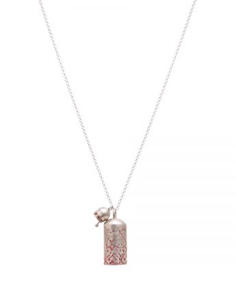 Two Bells Stamped Necklace - Red
