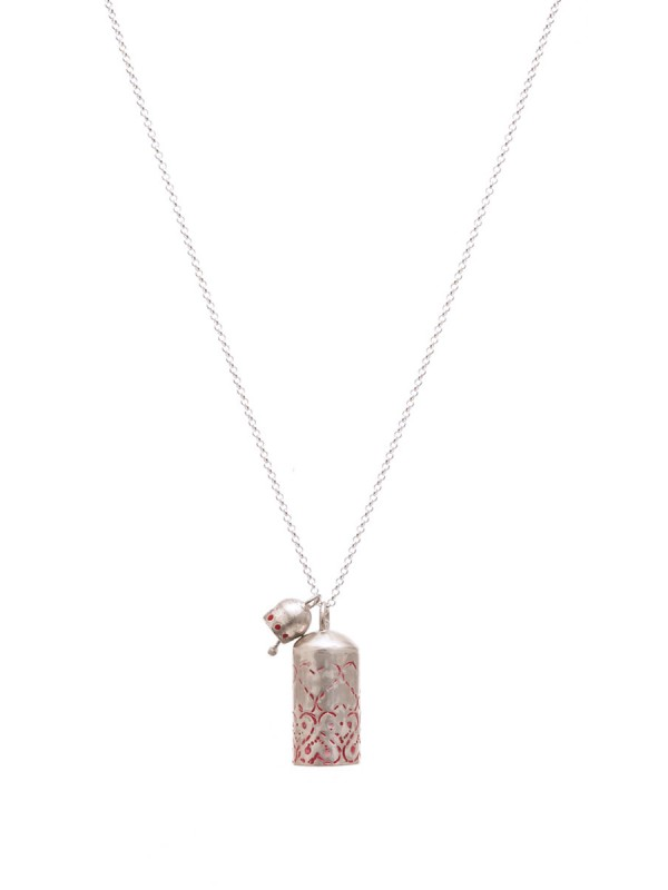 Two Bells Stamped Necklace – Red