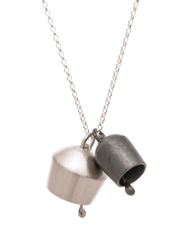 Two Domed Bells Necklace – Silver & Oxidised