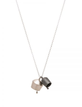 Two Domed Bells Necklace - Silver & Oxidised