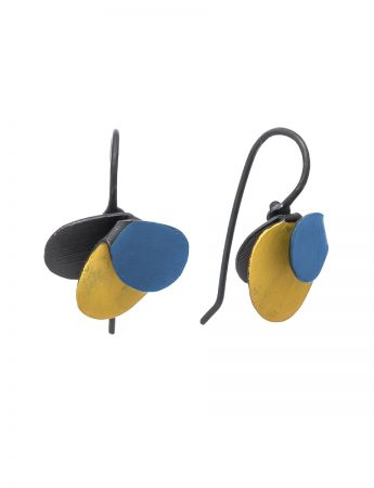 Violet Hook Earrings - Blue & Yellow