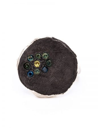 Round Black Ring - Sapphires