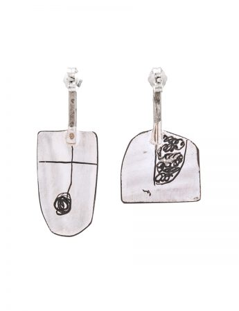 Wide Apron Earrings - Pink & White