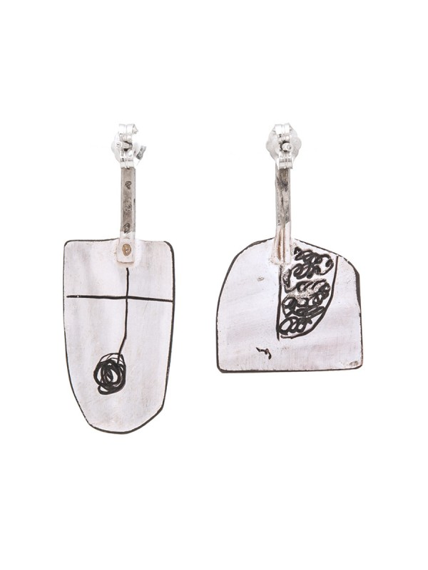 Wide Apron Earrings – Pink & White