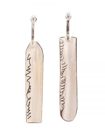 Long Apron Earrings - Pink & White
