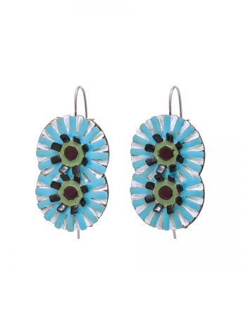 Double Flower Earrings - Blue