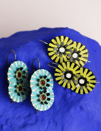 Double Flower Earrings – Blue