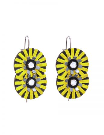 Double Flower Earrings - Yellow